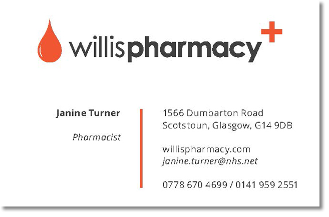 Willis Pharmacy business card