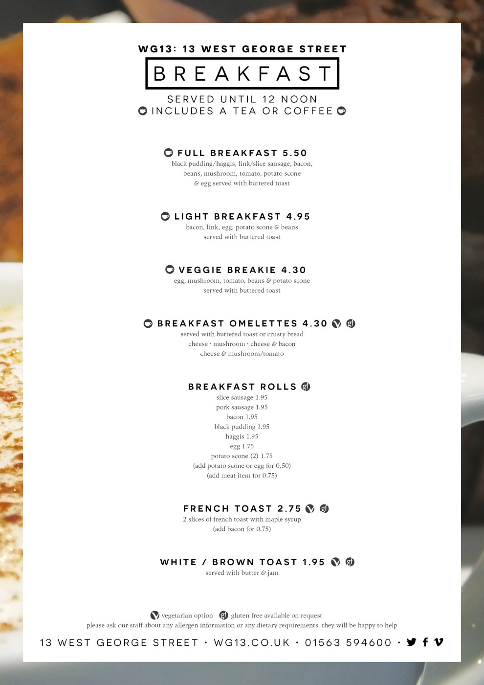 WG13 Breakfast Menu
