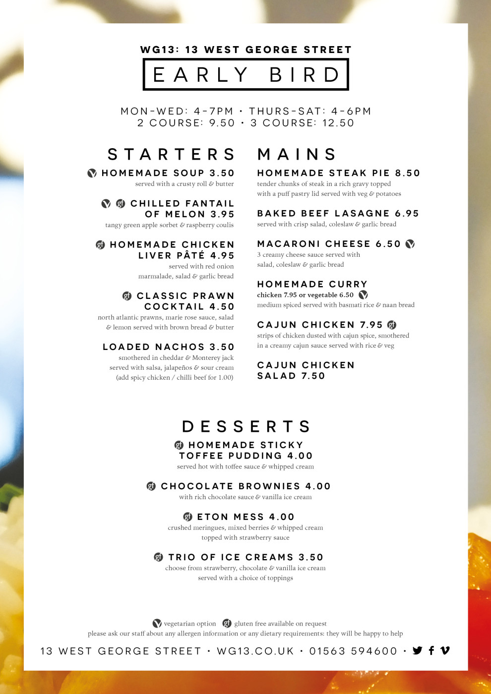WG13 Early Bird Menu