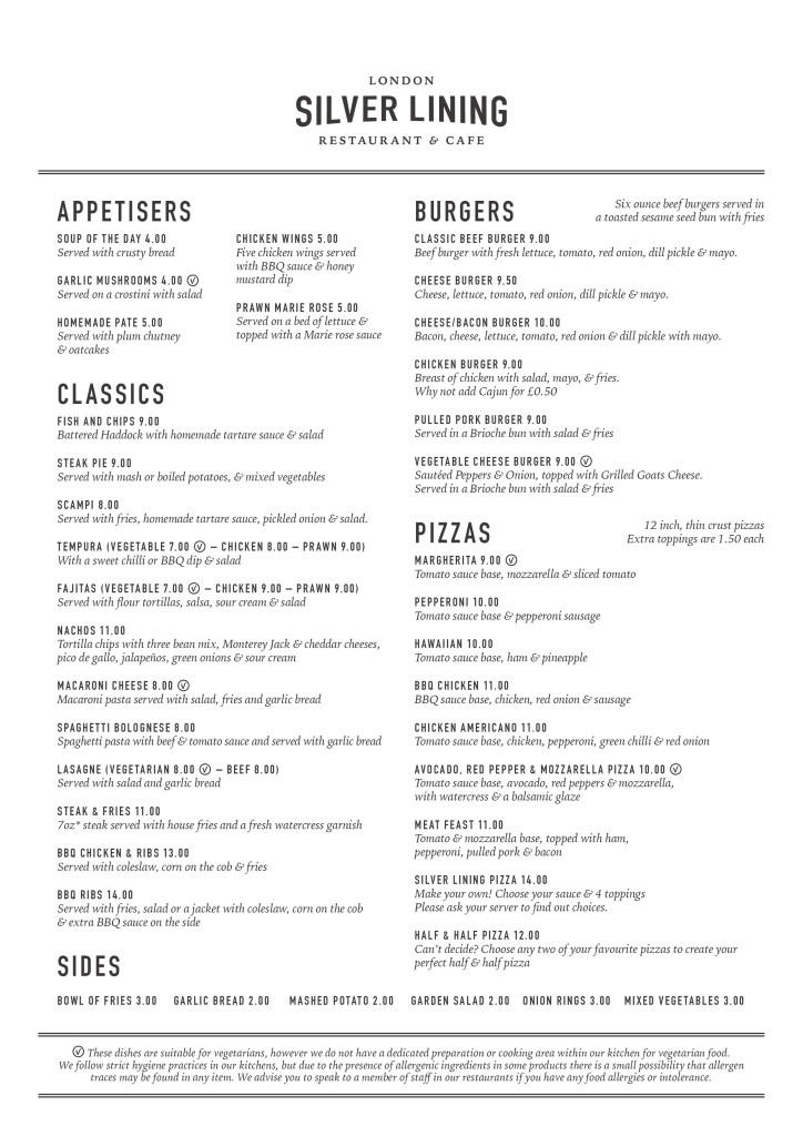 London menu