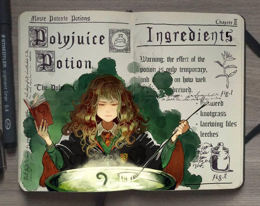 Polyjuice Potion illustration by Gabriel Picolo