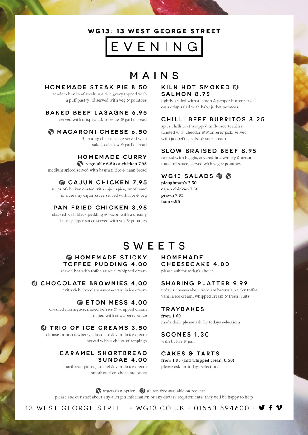 WG13 Afternoon Menu 2