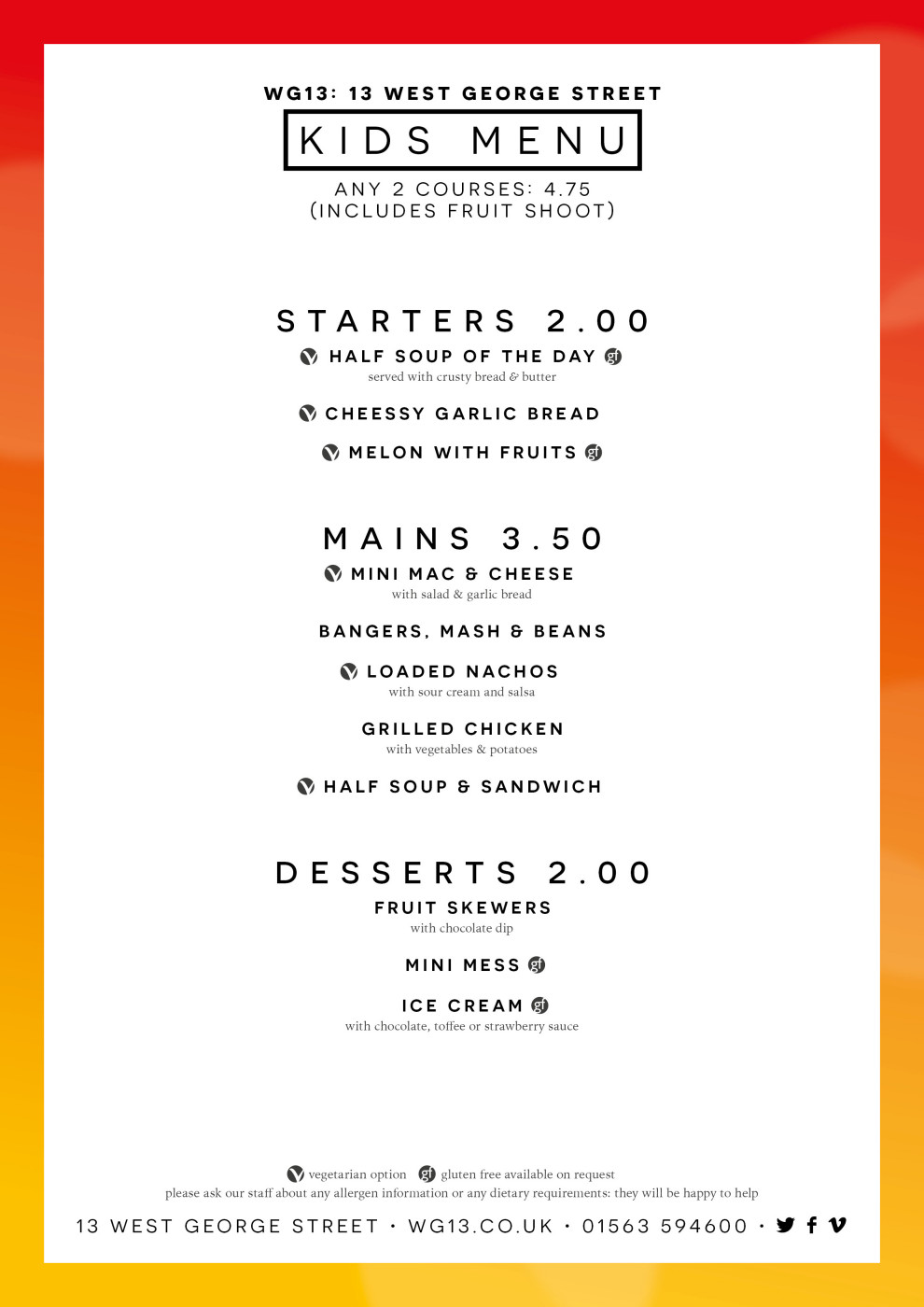 WG13 Kids Menu