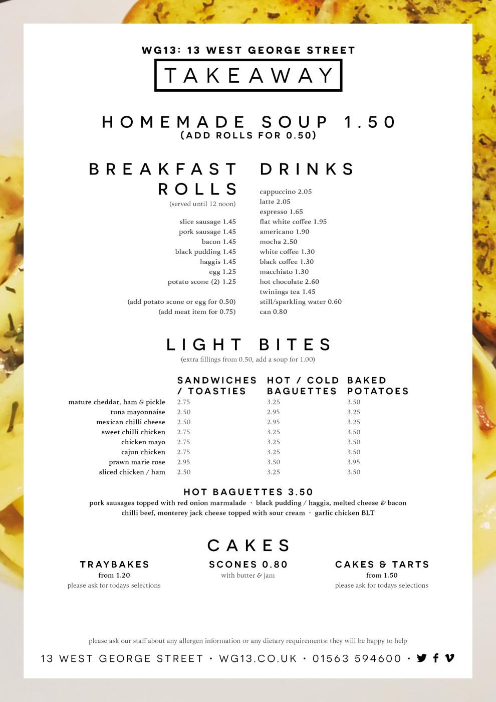 WG13 Takeaway menu